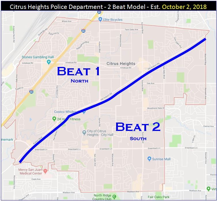 Picture of map showing areas for Beat 1 and Beat 2