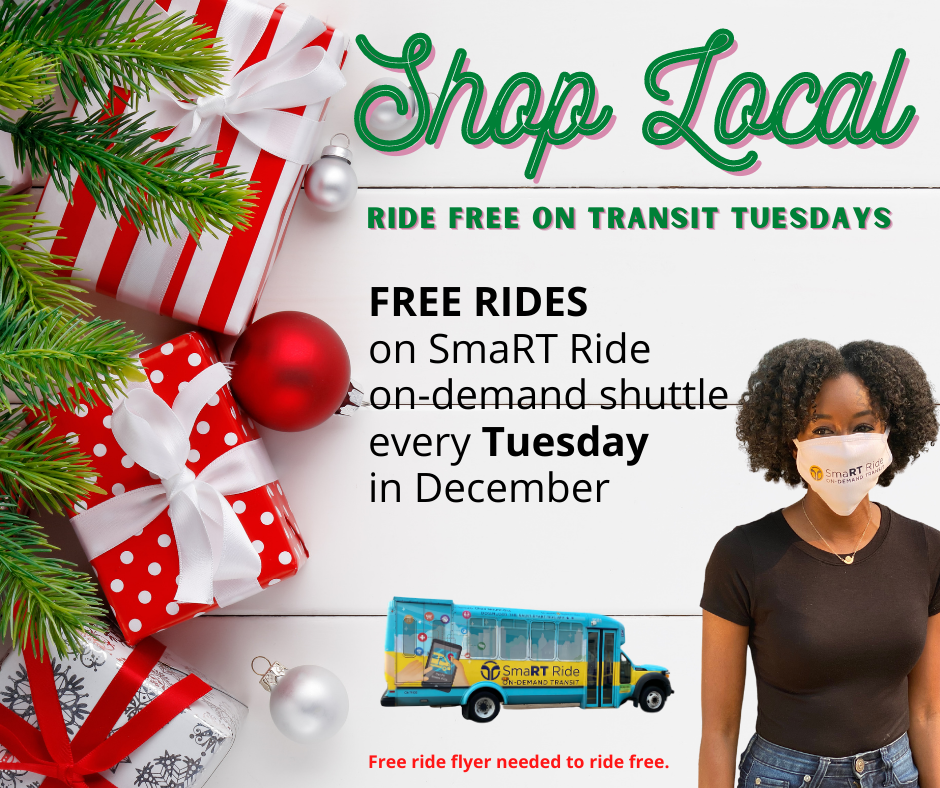 SmaRT Ride Free Transit Tuesdays in December 2020