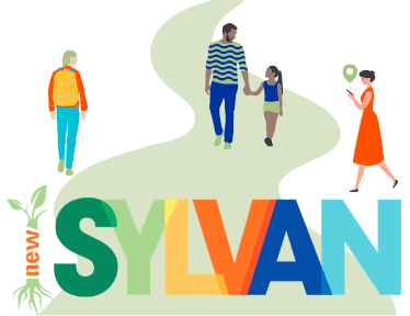 Cartoon people walking, and a logo that says &#34New Sylvan&#34