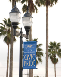 Lamp post with sign promoting civic pride