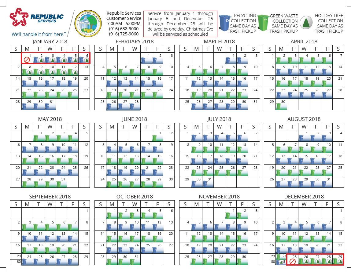 2018 recycling green waste schedule citrus heights ca
