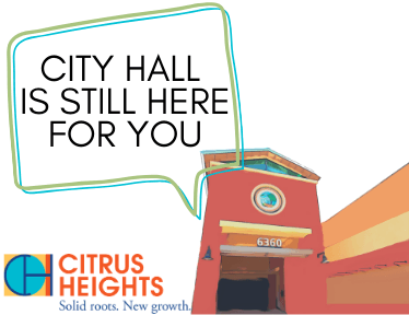 "Image of City Hall building with a speech bubble that says ""City Hall is still here for you!"""