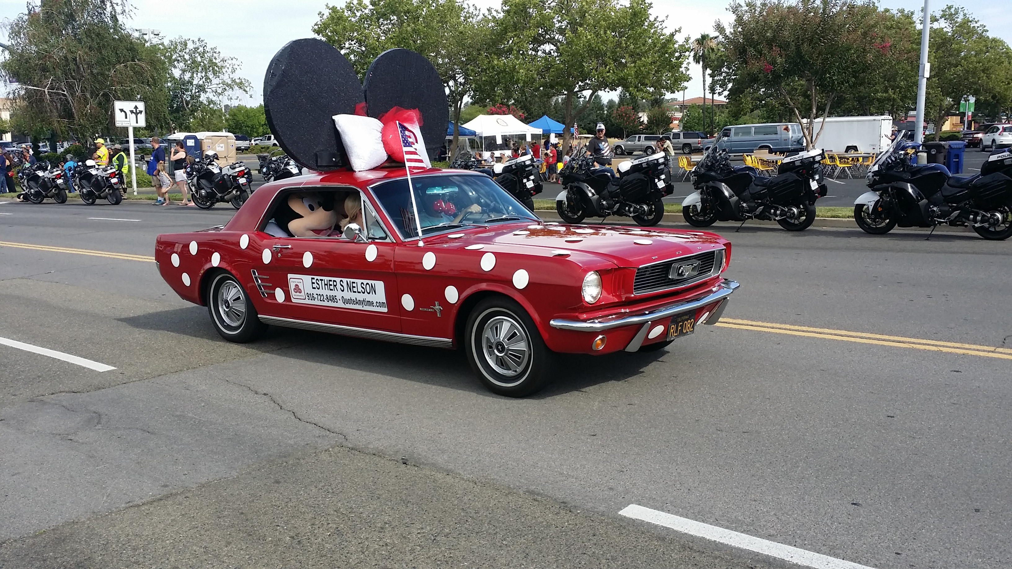 A red Minnie Mouse Ford Mustang